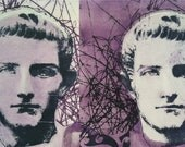 Vintage Etching Romanesque inspired surreal fantasy portrait head bust monoprint Lavender Boys Original Lithograph
