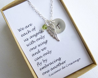 Sterling Silver Angel Wing Gift Message Necklace -- Birthstone Initial --  Friendship -- Mothers -- Sisters