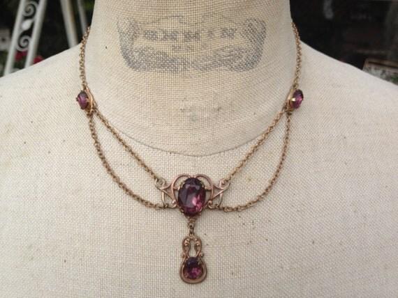 Vintage Turn of the Century Art Nouveau  Amethyst Glass Necklace