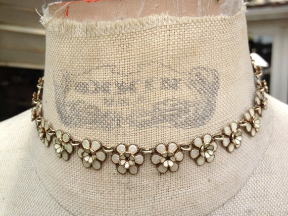 Stunning Vintage MEKA  Sterling Danish Denmark Enamel Flower Necklace
