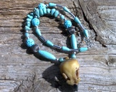 Resin Eagle Skull,magnesite ,silver beaded necklace 20 inch