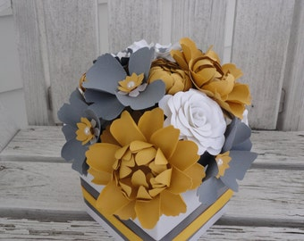 Paper Flower Centerpiece - Paper Rose Peony Poppy Centerpiece - MADE TO ORDER