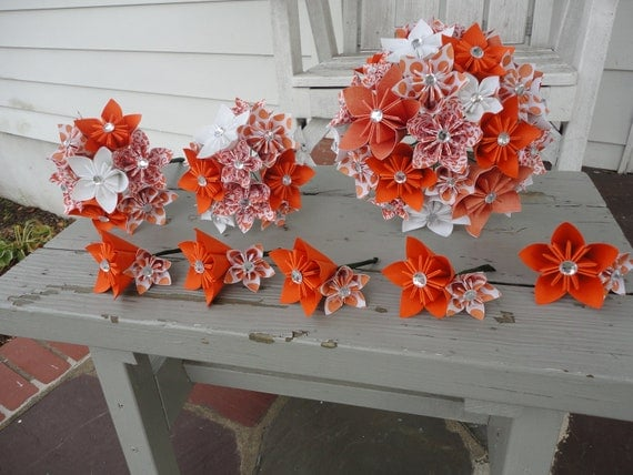 Orange Paper Flower Wedding Package Fall Kusudama Flowers SALE Ready to Ship - RESERVED