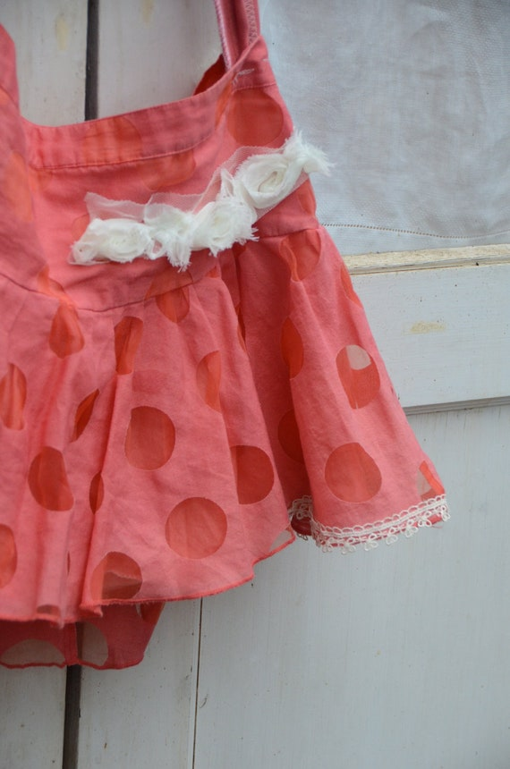 Winter  orange peach pink apricot polka dot flouncey ooak bag purse ipad bag gym bag lovely Shabby vintage lace shabby chic upcycled