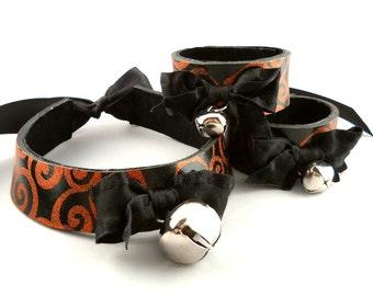 Orange Glitter Swirl Black Leather Bow and Bell Collar Choker Necklace and Cuff Bracelets Set Goth Cosplay Kawaii Fantasy Fashion Wear