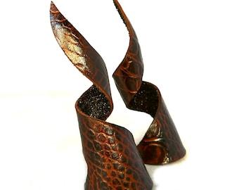 Brown Black Leather Celestial Dragon Demon Goblin Horns Headdress Furry Cosplay Fantasy Goth Gothic Fashion Accessory