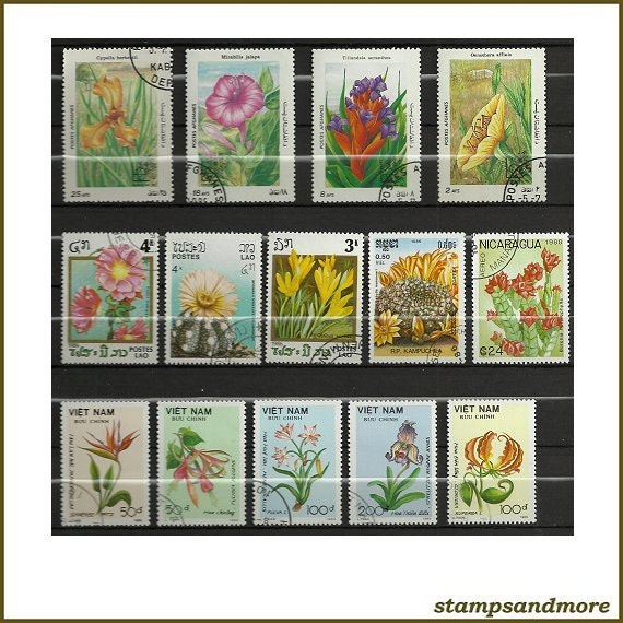 Flower Postage Stamps - Scrapbooking - Card Making