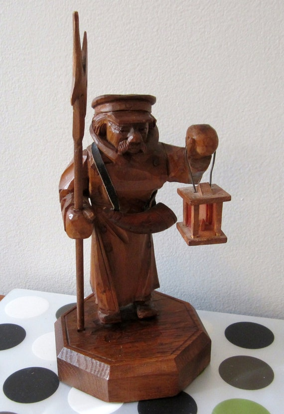 Vintage 60's WOOD hand carved Mountain Man LAMPLIGHTER  by Master Carver Jnh. E  Herr Germany