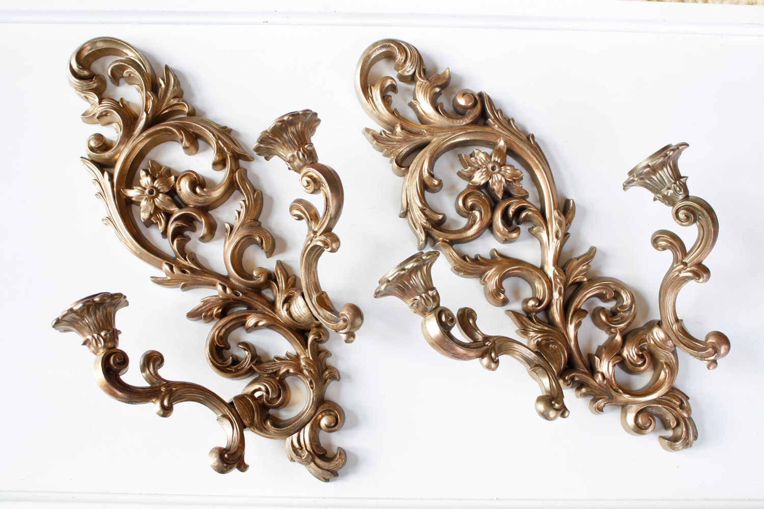 Candle Wall Sconces Vintage : Vintage Syroco Like Wall Sconce Candle Holder Ornate
