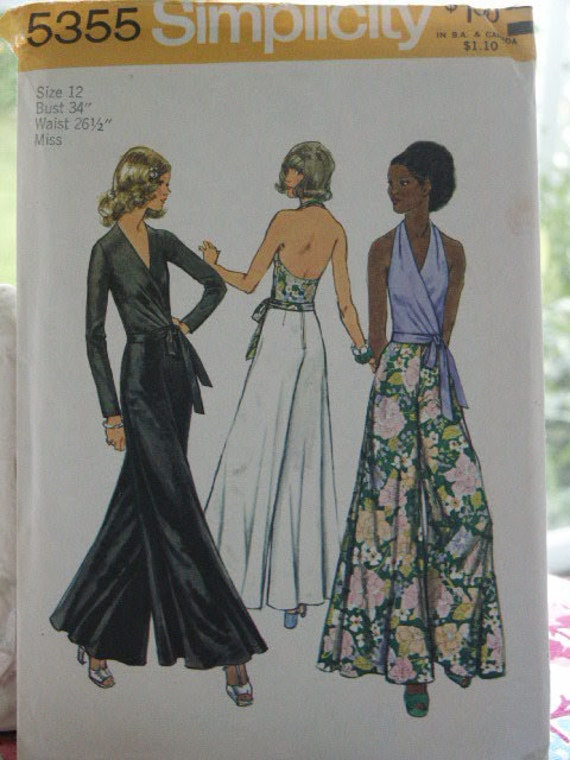 Vintage 1970s Hippie Era Simplicity Pattern 5355  Sexy Misses Wrap Tie  Blouse Halter Top and Wide Palazzo Pants Size 12 Bust 34