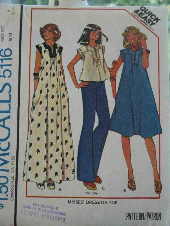 Vintage 1970s Hippie Era McCall's Tent Dress Maxi, Regular Length & Smock Blouse Top Sewing Pattern  3555 Size 8 Bust 31 1/2 UNCUT