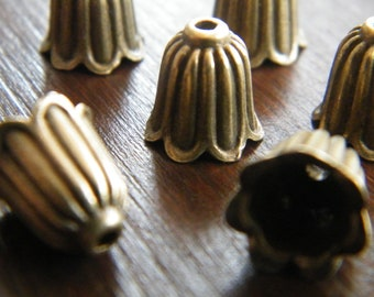 50 x Antique Brass Bead Caps Bronze Bell Shape Beadcaps 10mm