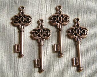 Boland - Skeleton Keys - 4 x Antique Copper Skeleton Key Vintage Celtic Style Keys