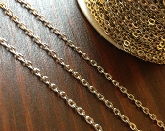 10ft Spool Silver Cross Chain Flat Link Silver Chain 3x2mm - A