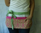 Utility Apron green, pink and white with 8 pockets and hook