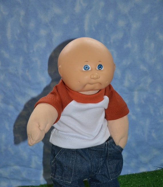 """Cabbage Patch Doll Clothes - for 16"""" - 18"""" Boy Dolls - Orange and White T-Shirt - Handmade"""