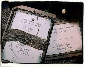 Popular Cute N' Trendy Design Vintage Inspired Burlap Wedding Invitations