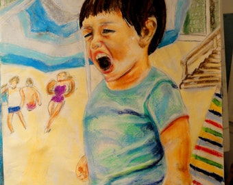 Screaming Little Boy at the Beach 18x24 Original Pastel Painting by Marlene Kurland