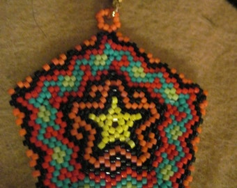 Peyote Stitched Yellow Star Pentaon w/ Scalloped Edges Zipper Pull or Pendant...1 of a kind...hand made...1404h