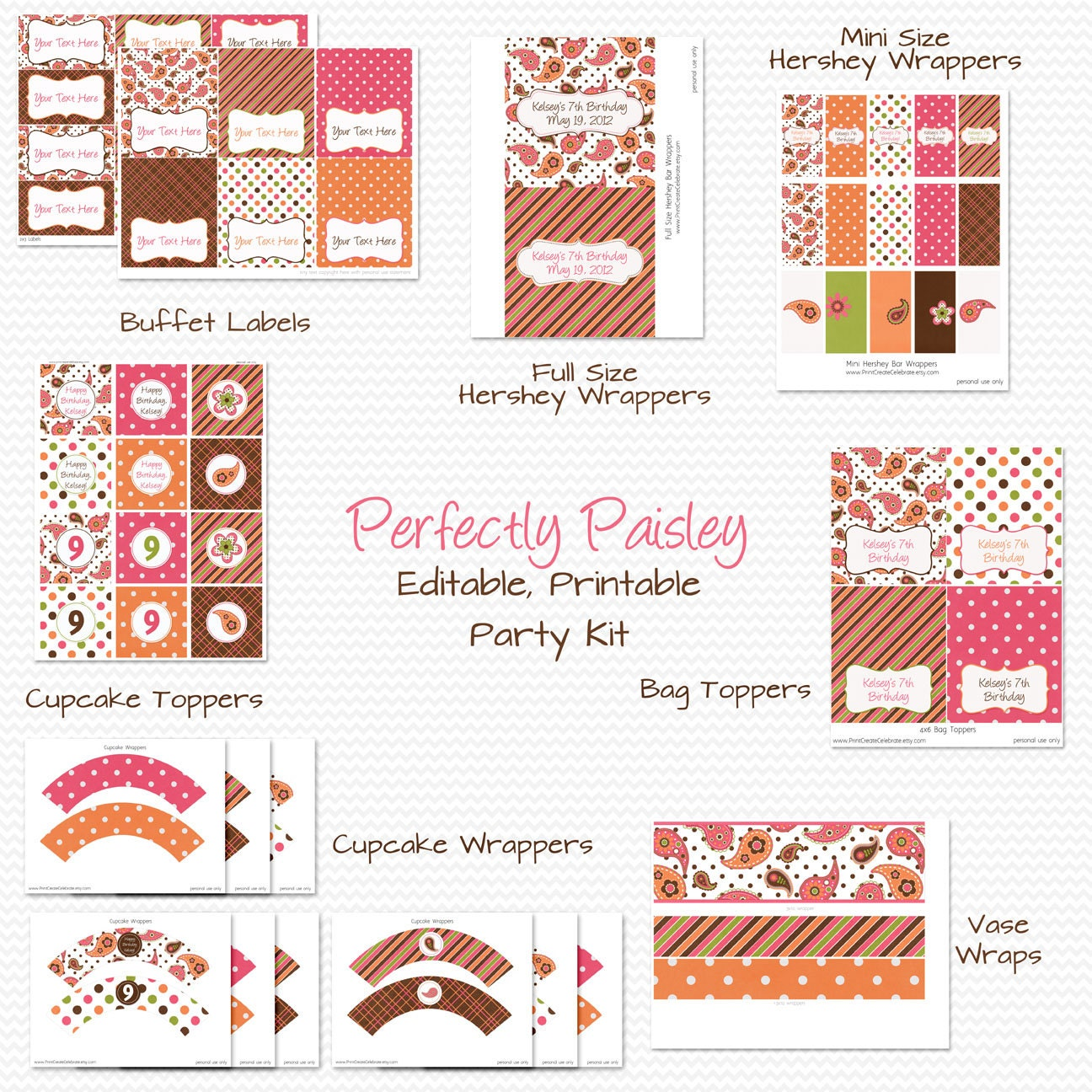 A Cupcake Themed 1st Birthday Party With Paisley And Polka: Paisley Birthday Party Printables Girl's Birthday Party
