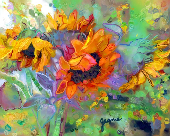 Sunflowers. Yellow, orange, blue, green, lavender. Dancing vibrant colors.