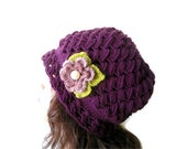 Pansy purple beanie,crochet,Holiday Accessories,Christmas,Halloween,gift