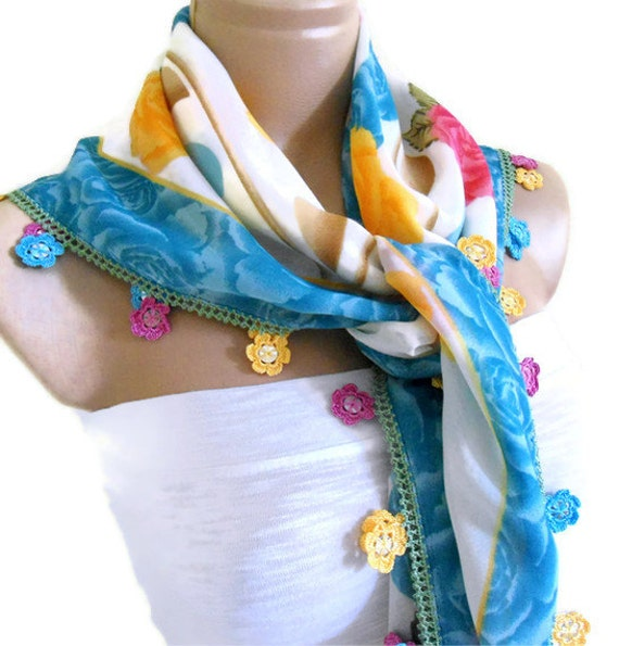 Blue scarf, christmas gift, unique gift, for you,  authentic, square , wedding, bride, 2014 Spring Fashion, Traditional Turkish-style