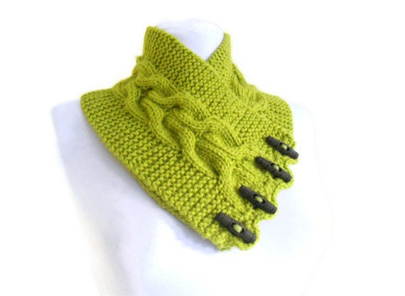 Apple green, neckwarmers, autumn, wool, hand-knitted,fashion,gift,new