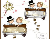 JUST MARRIED Wedding Car Clipart, Bride and Groom Graphics, Digital Clipart Wedding, Anniversary Images, Groom in Top Hat, White Roses