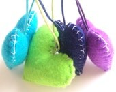 Wedding/party Hearts Favours  - purple, turquoise, navy, green - Set of 4 - Ornaments/favors/decor/gifts