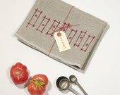 Rectangles, natural linen tea towel, cranberry red