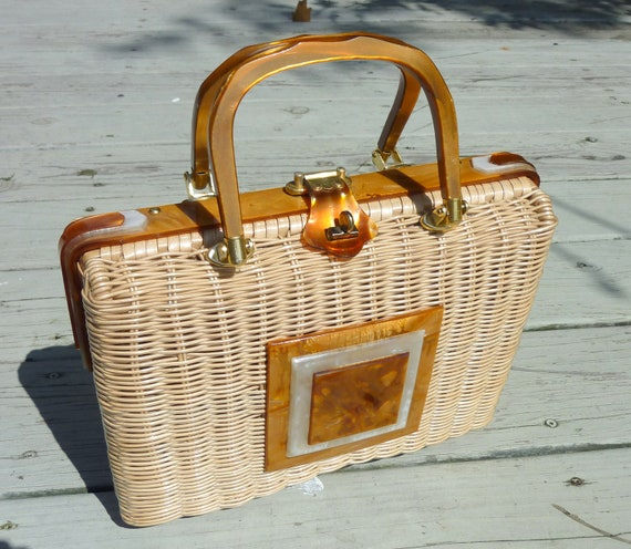 fab lucite straw handbag Adele bags super mad man vintage 50s look perfect accessory purse