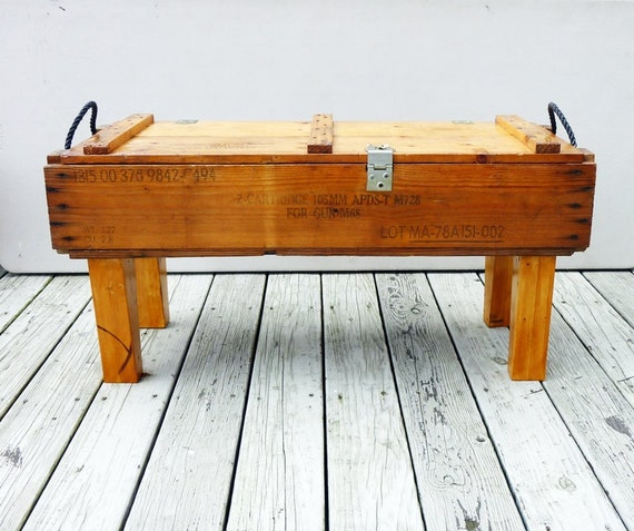 Hold Vintage 50s Ammunition Box Bench Table Pine Upcycle