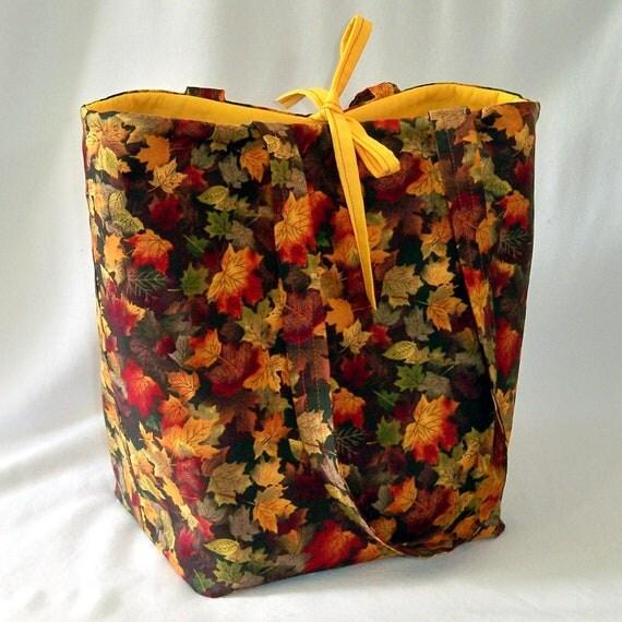 Autumn Leaves Tote Bag, Fabric Purse, Handmade Handbag, Fall Leaves Fabric Bag, Gold, Yellow, Brown, Orange, Shoulder Bag