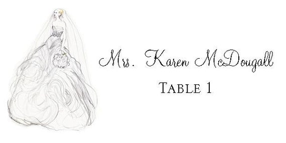 Bridal Shower Place Cards - private listing