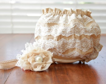 Vintage Tea Stained White Lace Diaper Cover With Coordinating Lace and Flower Headband