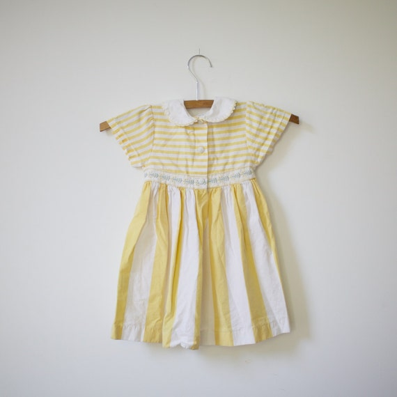RESERVED RESERVED RESERVED - Vintage Yellow Striped French Dress (2t)