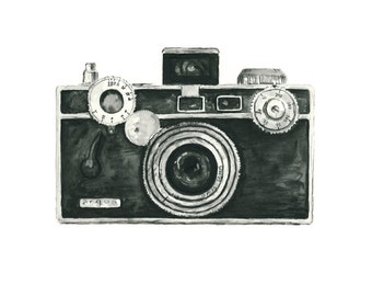 vintage camera watercolor giclee art print // ARGUS camera // home decor -- wall art