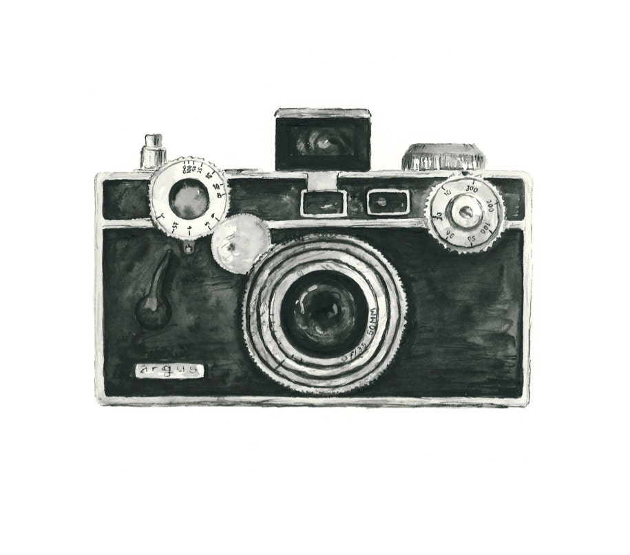 vintage camera watercolor giclee art print     argus camera vintage camera clip art free old camera clip art png