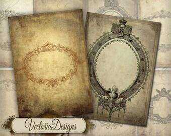 Tattered Frames ATC vintage images digital background instant download printable collage sheet VD0146