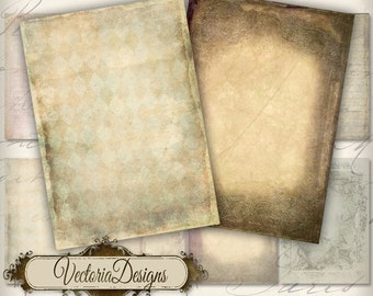Tattered Papers ATC vintage images digital background instant download printable collage sheet VD0156