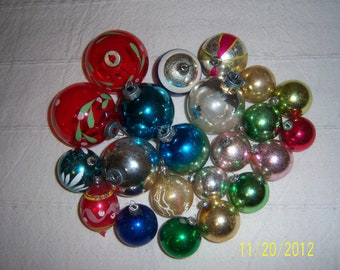 1950s Assortment Of Glass Christmas Tree Ball Ornaments Lot Of 22 Made In USA, Germany And Japan
