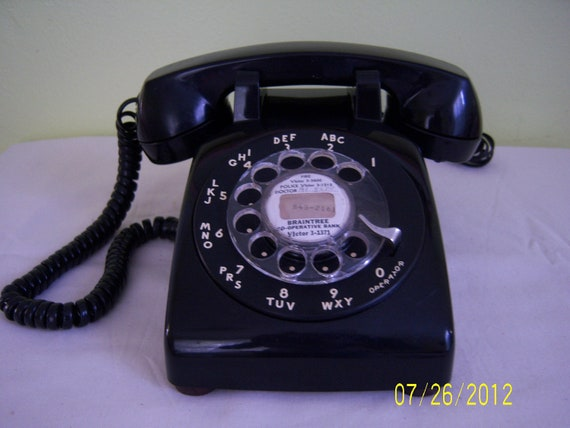 Vintage Black Rotary Dial Desk Telephone - Retro Bell System Phone made by Western Electric
