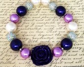 Chunky Beaded Necklace, Purple and Ivory Beads,  The Perfect Plum, Matches Persnickety Fall Line