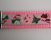"Key Fob, Snowman, Reindeer and Christmas Trees 1"" Wide"