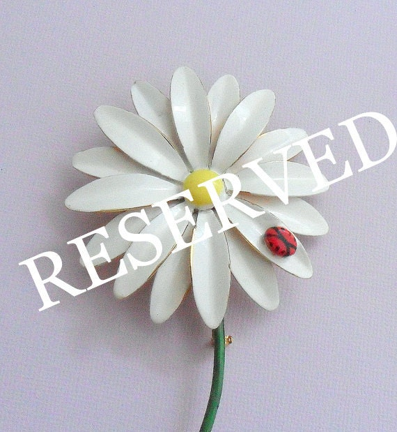RESERVED Signed SANDOR CO Enamel Daisy Flower Pin Brooch w/ Lady Bug, Stem - 1950s