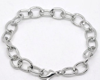 12 Silver Tone Chunky Chain Charm Bracelets  20cm . almost 8 inches long  fch0033b