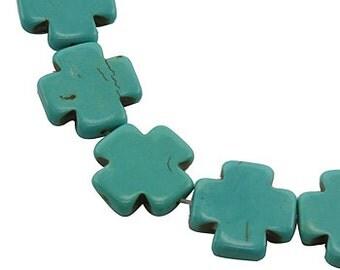 TURQUOISE BLUE Howlite MALTESE Cross Beads, 1 strand, 20mm  how0355