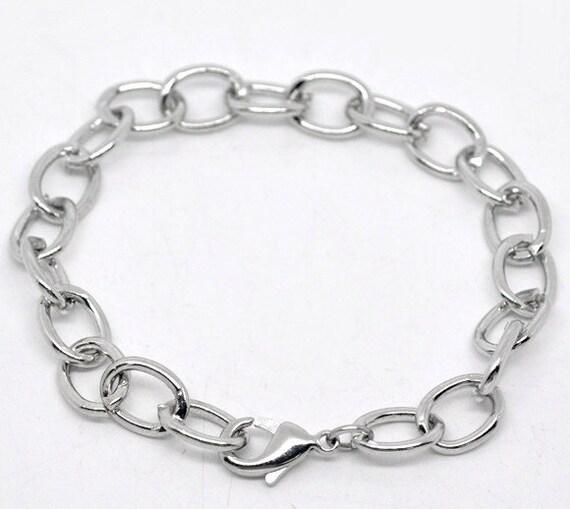 Bulk Lot 12 Silver Tone Chunky Chain Charm Bracelets  20cm . almost 8 inches long  fch0033b