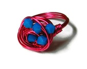 Pink Wire Wrapped Ring, Blue Crystal Nest Ring, Fuchsia